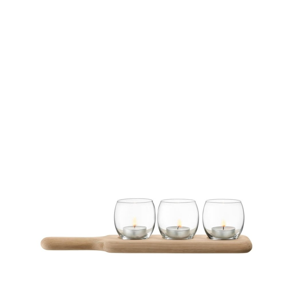 LSA Paddle Tealight Holder Set & Oak Clear 65.5 Cm -