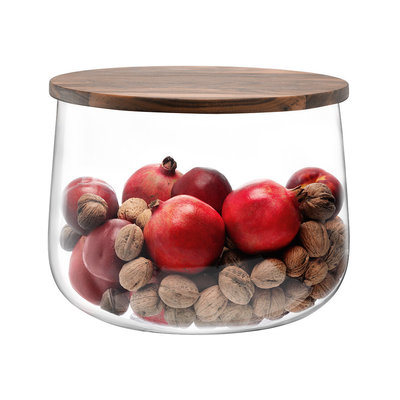 LSA City Bowl & Walnut Lid Clear 32 Cm