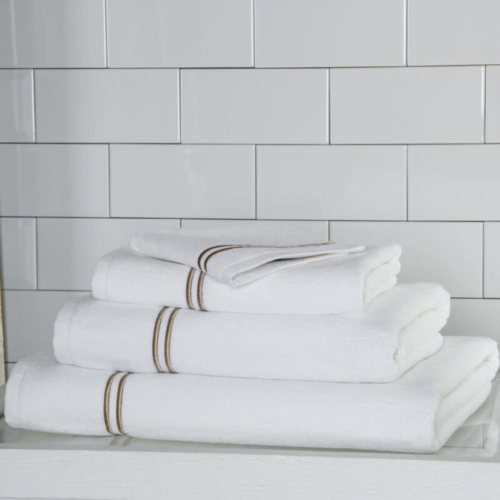 FRETTE Hotel Classic Wash Cloth White / Khaki 12 X 12''