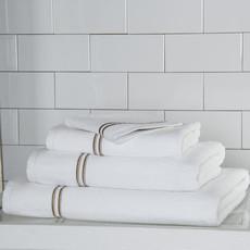 FRETTE Hotel Classic Serviette À Mains Blanc / Khaki 19 X 30''