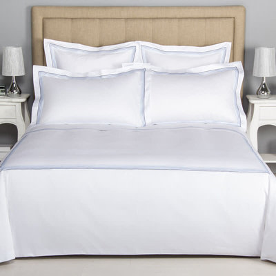 FRETTE Hotel Cruise King Duvet Cover White / Sky Blue 265 X 230''