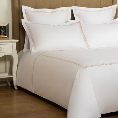 FRETTE Hotel Cruise Queen Housse De Couette Blanc / Beige 230 X 230''