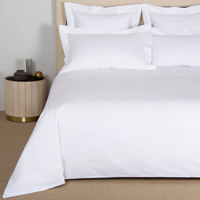 FRETTE Tre Bourdon Duvet Cover Queen White / White
