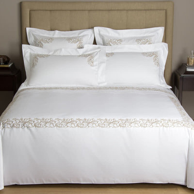 FRETTE Granada Ricamo Queen Duvet Cover White / Natural 230 X 230''