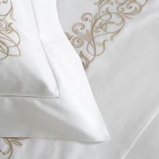 FRETTE Granada Ricamo Queen Duvet Cover White / Natural 230 X 230''