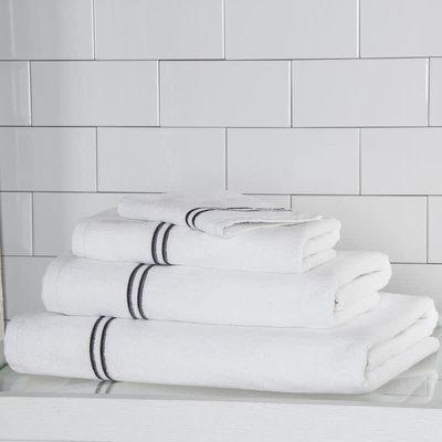 FRETTE Hotel Classic Wash Cloth White / Grey 12 X 12''