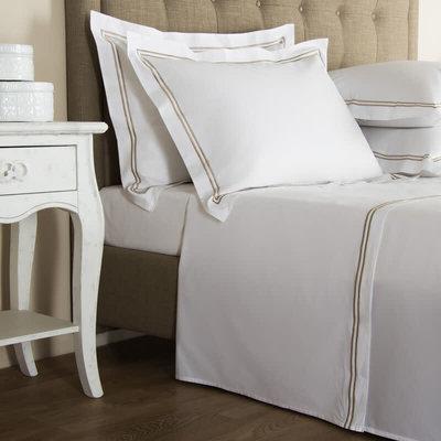 FRETTE Hotel Classic Bianco C/Bourdon King Sheet Set White/Sepia
