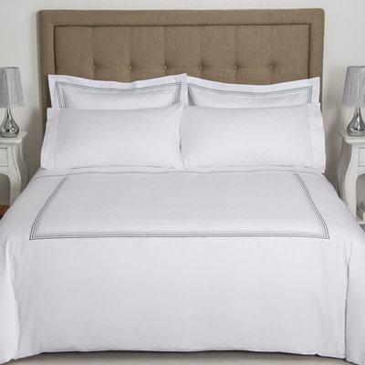 FRETTE Hotel Cruise King Housse De Couette Blanc / Gris 265 X 230''