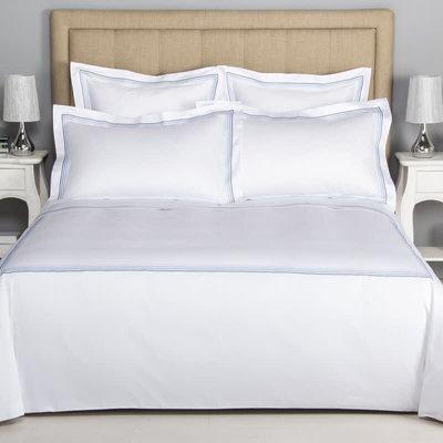 FRETTE Hotel Cruise Queen Housse De Couette Blanc / Bleu Ciel 230 X 230''