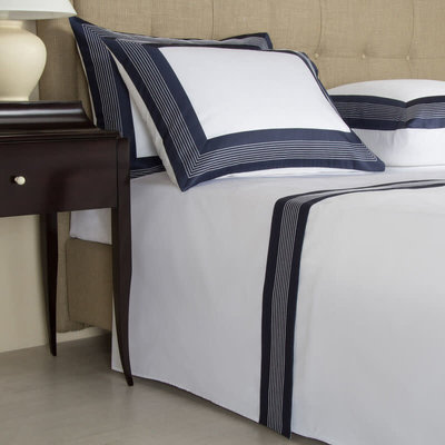 FRETTE Hotel Porto Queen Ensemble De Draps Blanc / Marine 240 X 305''