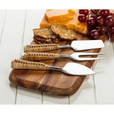 "ABBOTT Set Of 3 Rattan Handle Cheese Knives 7""L"