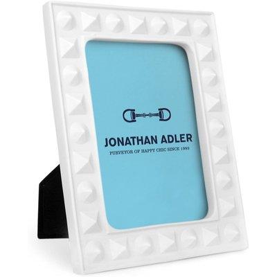"JONATHAN ADLER Charade Cadre Clouté Blanc 5 X 7"""