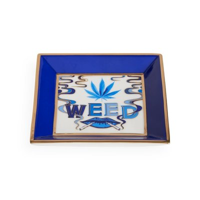 JONATHAN ADLER Druggist Weed Square Tray Multi Blue