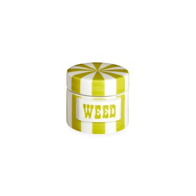 JONATHAN ADLER Weed Vice Canister Lime / White 2.25 X 2''