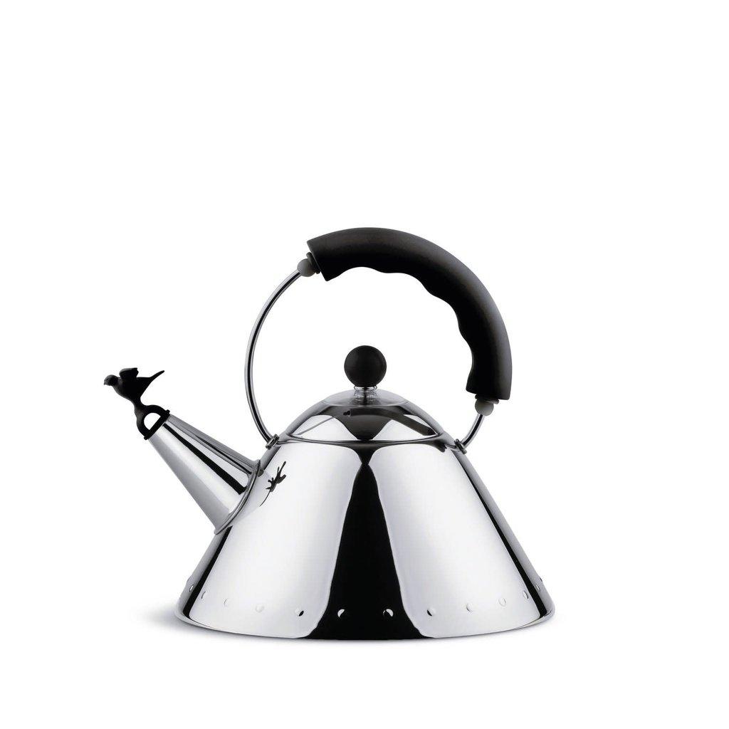 ALESSI bouilloire  avec Sifflet en forme d'oiseau noir mat