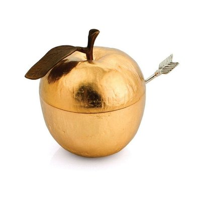 MICHAEL ARAM Apple Honey Pot with Spoon Goldtone