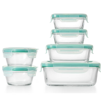 OXO SmartSeal 12 Piece Glass Container Set with Snap Lid