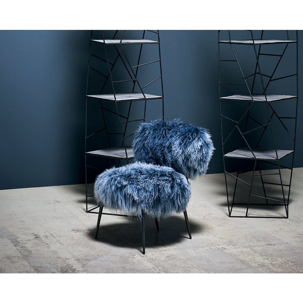 BAXTER Nepal Little Chair Seat leather Mongolia Blue 56 x 56 cm