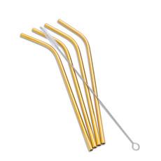 """ABBOTT Set 4 Bent Straws & Brush 8""""L"""