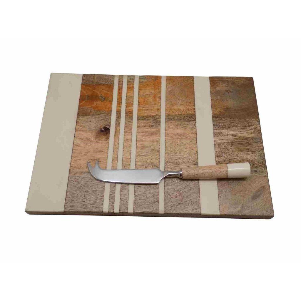 Grand Plateau à Rayures avec Couteau à Fromage