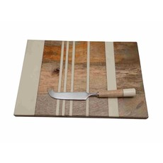Stripe Board Lg W/Cheese Knife