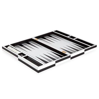JONATHAN ADLER Lacquer Op Art Backgammon Set Black / White