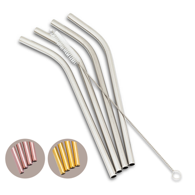 "ABBOTT Set 4 Bent Straws & Brush 8""L"