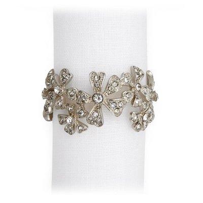 LOBJET Garland Napkin Jewels Platinum W/ White Crystals Set/4