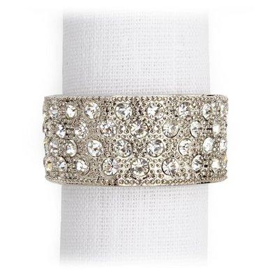 LOBJET Pave Band Napkin Jewels Platinum + White Crystals Srt/4