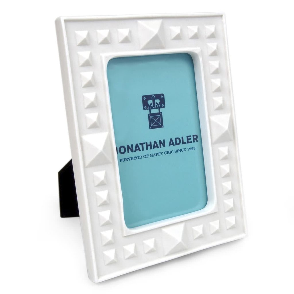 """JONATHAN ADLER Charade Studded Frame White 4 x 6"""""""