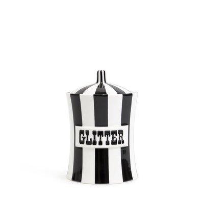 JONATHAN ADLER Glitter Vice Canister Black / White 4 x 6''