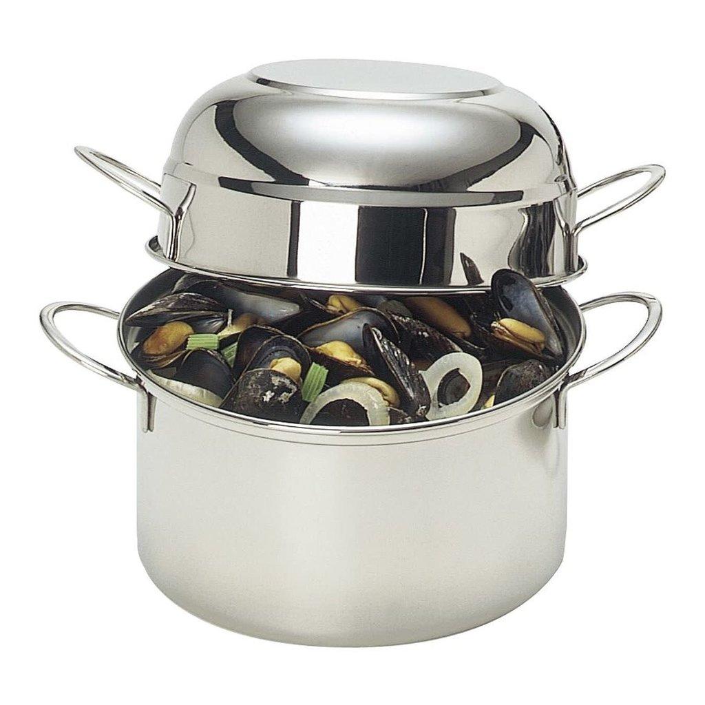 DEMEYERE Acier Inox Mussel Pot Avec Couvercle 3.2 QT - 3 L - 7.9''