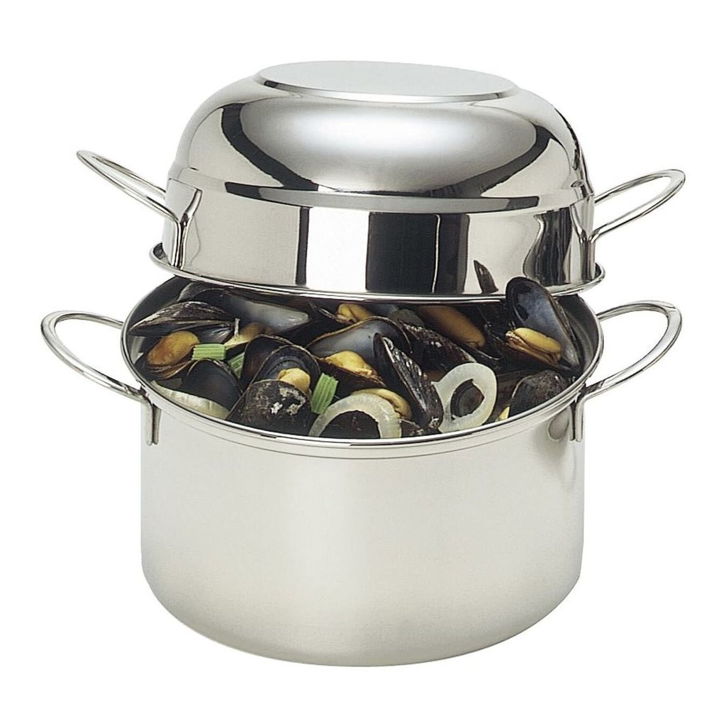 DEMEYERE Stainless Steel Mussel Pot With Lid 3.2 Qt - 3 L - 7.9''