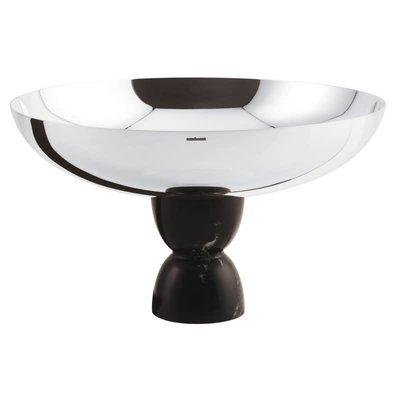SAMBONET Madame Footed Cup Slvrpltd/Black Marble Resin On 18/10 S/S 6 In X 10 1/4 In H