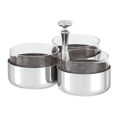 SAMBONET Elite Relish Dish 3 Compartments With Crystal Stainless Steel 3 3/8''