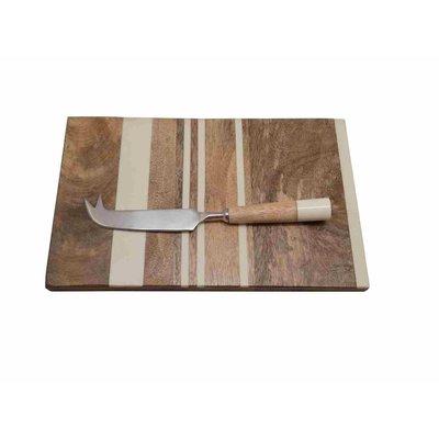Stripe Board Sm W/Cheese Knife