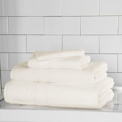 FRETTE Checkerboard Bath Towel Ivory Single 27 X 54