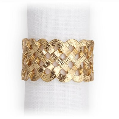 LOBJET Braid Napkin Ring Jewels Gold Set of 4