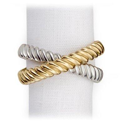 LOBJET Deco Twist Rings Napkin Jewels Gold & Platinum Set of 4