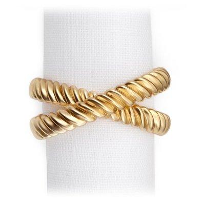 LOBJET Deco Twist Rings Napkin Jewels Gold Set of 4