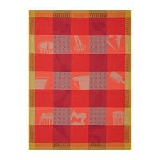 LE JACQUARD FRANCAIS Chef Patissier Mosaique Tea Towel Raspberry Bush 24'' X 31''