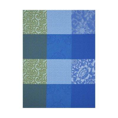 LE JACQUARD FRANCAIS Fleurs De Kyoto Torchon 24'' X 31'' Bleu