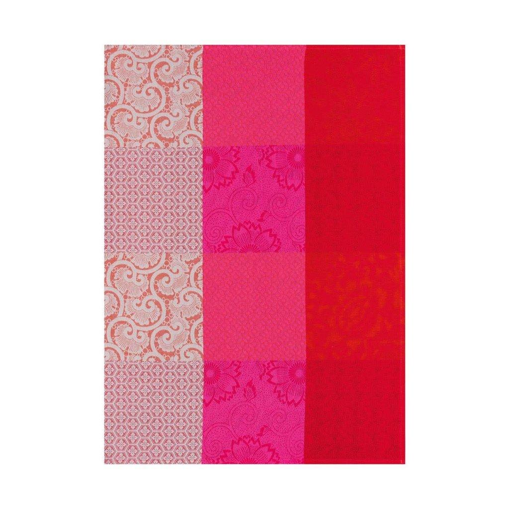 LE JACQUARD FRANCAIS Fleurs De Kyoto Tea Towel 24'' X 31'' Cherry