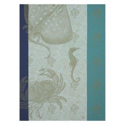 LE JACQUARD FRANCAIS Fonds Marins Crabe Tea Towel 24'' X 31'' Pacific