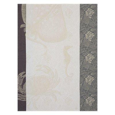 LE JACQUARD FRANCAIS Fonds Marins Crabe Tea Towel 24'' X 31'' Pearl