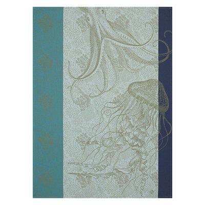 LE JACQUARD FRANCAIS Fonds Marins Meduse Tea Towel 24'' X 31'' Pacific