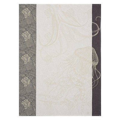 LE JACQUARD FRANCAIS Fonds Marins Meduse Tea Towel 24'' X 31'' Pearl