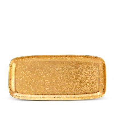 LOBJET Alchimie Gold Rectangular Platter Large 55 X 26 Cm