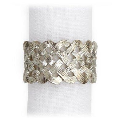 LOBJET Braid Napkin Ring Jewels Platinum Set Of 4