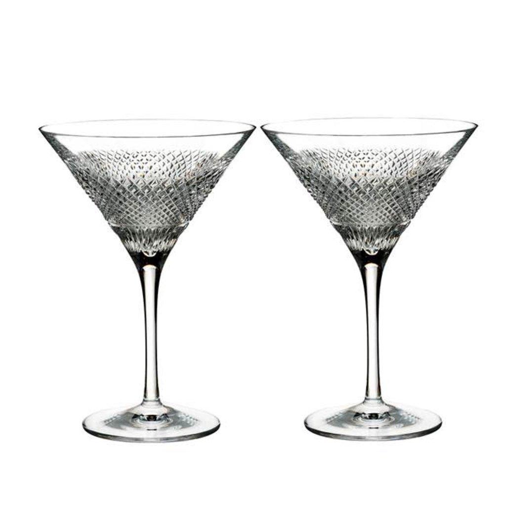WATERFORD Diamond Line Martini 6.7 Oz Ens/2
